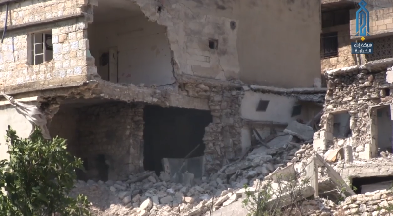 Buildings in the village of Al-Najiya which were hit by Syrian army artillery (Ibaa, August 3, 2018)