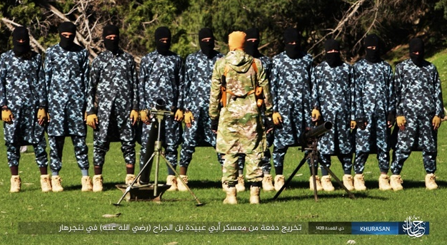 ISIS operatives with their instructor at the training camp.