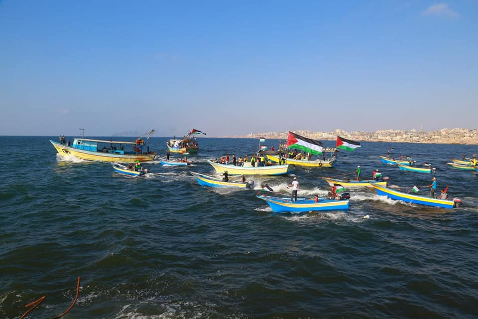 The flotilla that set sail from the Gaza Strip (Facebook page of Supreme National Authority of the Return March, August 11, 2018).
