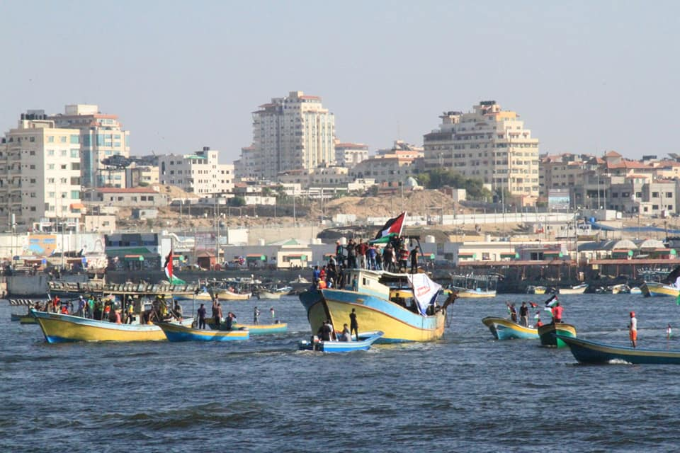 The boats that set sail from the Gaza Strip (Facebook page of Supreme National Authority of the Return March, August 11, 2018).