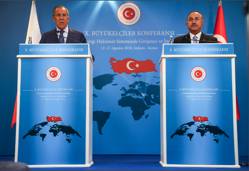Press conference held by the Russian foreign minister (left) and his Turkish counterpart (Russian Foreign Ministry website, August 14, 2018)