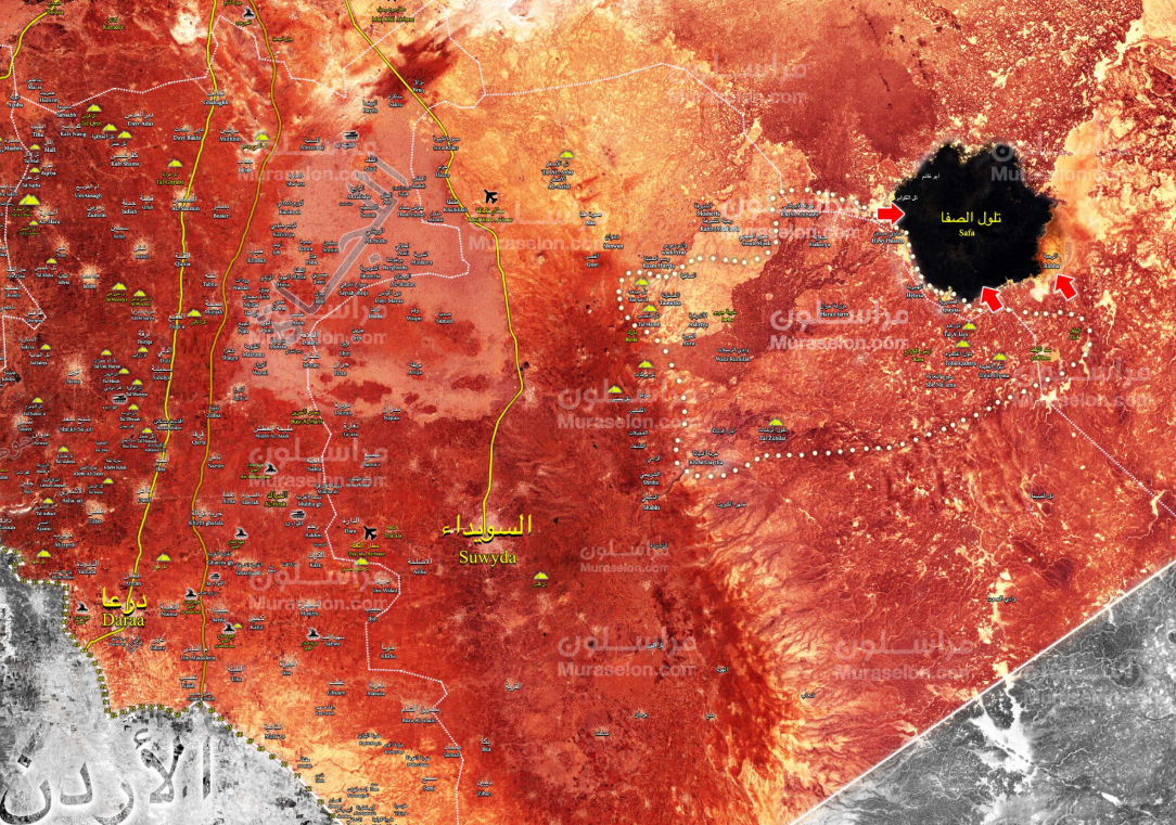 The Al-Safa area, where ISIS operatives are being besieged (marked in black). ISIS still controls this area (Muraselon, August 12, 2018)
