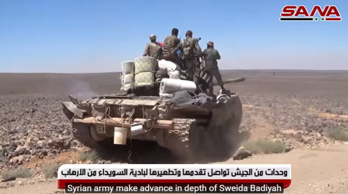 Syrian army tank during activity against ISIS (SANA, August 8, 2018).