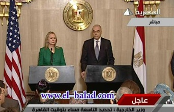 American Secretary of State Hillary Clinton and Egyptian Foreign Minister Muhammad Kamel Amro hold a joint press conference where they announced the understandings of Operation Pillar of Defense (al-Masriyya, November 21, 2012).