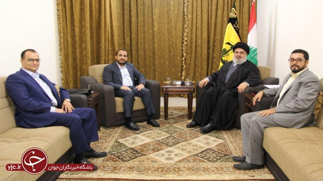 A meeting between a delegation headed by the Spokesman of Ansar Allah, Muhammad Ab al-Salam, with the Secretary General of Hezbollah, Hassan Nasrallah, in August 2018. (yjc.ir, August 18, 2018).