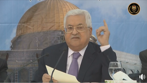 Mahmoud Abbas gives the speech opening the PLO's Central Council conference (Mahmoud Abbas' Facebook page, August 15, 2018).