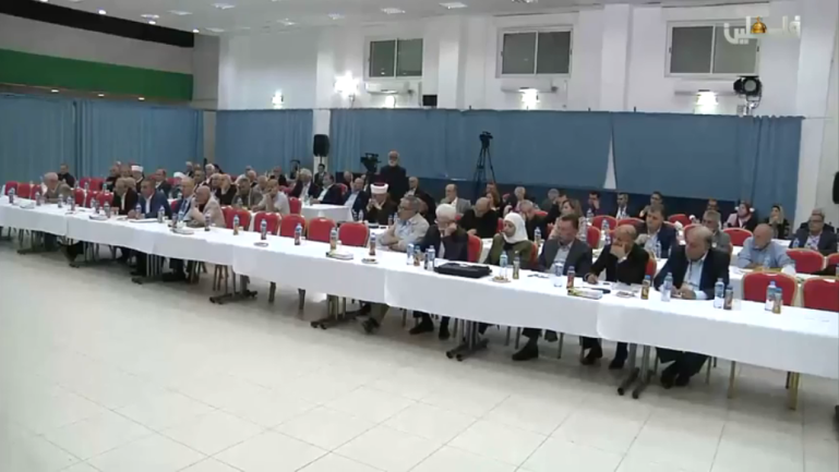 The conference of the PLO's Central Council in the Muqata'a in Ramallah as Mahmoud Abbas gives the closing speech. Apparently attendance was poor (Palestinian TV YouTube channel, August 18, 2018).