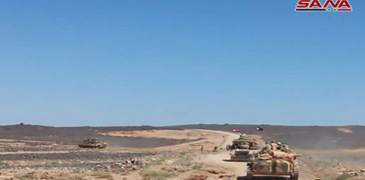 Syrian army armor force in ISIS's enclave in As-Suwayda (SANA, August 19, 2018)
