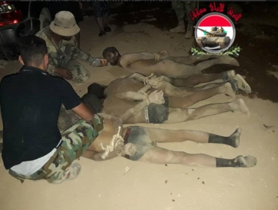 ISIS operatives captured by the Syrian army in the Al-Safa area (Twitter, August 18, 2018).