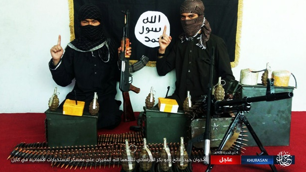 Two ISIS suicide bombers, Haidar Fateh and Abu Bakr al-Khorasani, who attacked an Afghan Military Intelligence training center in Kabul, with the weapons used to carry out the attack (ISIS-affiliated website www.k1falh.ga, August 16, 2018)