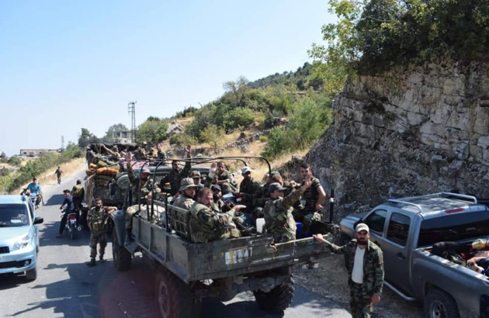 Syrian army reinforcement arriving in Jab al-Ahmar, south of Jisr al-Shughur (Facebook page of the Syrian Army's Central Information Network, August 23, 2018).