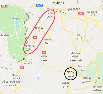 "The area (marked in red) where the Headquarters for the Liberation of Al-Sham arrested 37 people on charges of ""treason and reconciliation with the Syrian regime"" (Google Maps)"