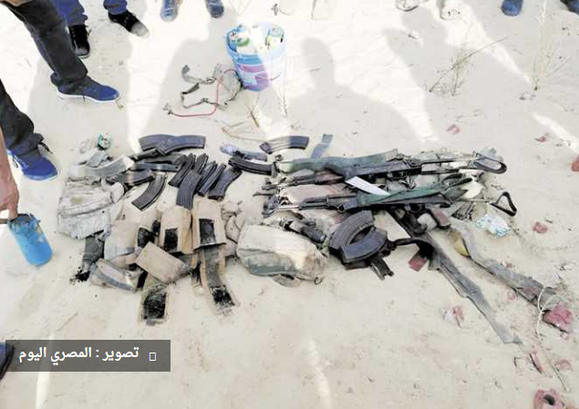 ISIS's weapons found after the attack on the checkpoint of Egyptian police (Al-Masry Al-Youm, August 26, 2018)