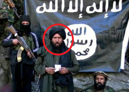 Hafiz Saeed (in red), the first leader of ISIS's Khorasan Province, who was killed on July 26, 2016 (Bawabat Al-Sharq, July 13, 2015)