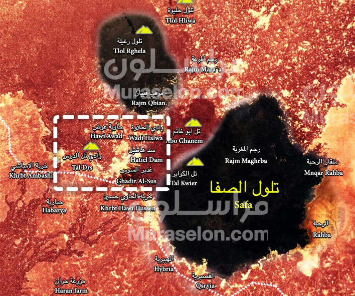 ISIS's enclave in the Al-Safa area (in black), which was divided into two parts. The area recently taken over by the Syrian army is marked with a white dotted line (Muraselon, August 30, 2018)