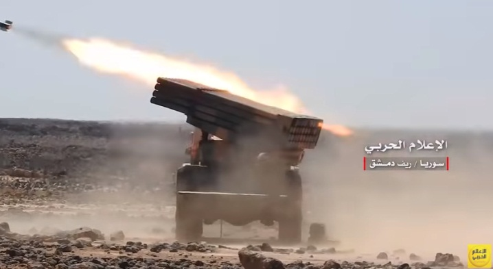Firing rockets at the Al-Safa area (Syrian Army Military Information Office, August 30, 2018)