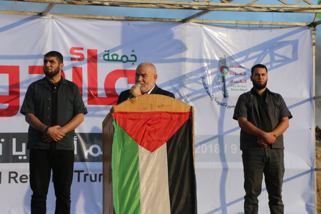 "Ahmad Bahar, Deputy Speaker of the Palestinian Legislative Council, taking part in the activities of the ""return march"" in the central Gaza Strip."