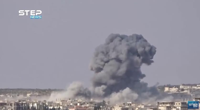 Barrel bomb dropped from a Syrian Air Force helicopter hitting an urban area in the village of Al-Lataminah, north of Hama (Khotwa, September 8, 2018).