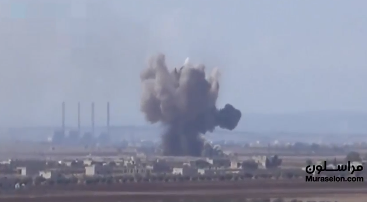 Smoke rising after a Russian bunker buster hit a target of the rebel forces in the Idlib Province (Muraselon, September 10, 2018)