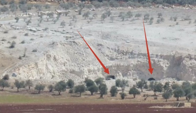 Two openings of tunnels used by the rebel forces in the Idlib Province.