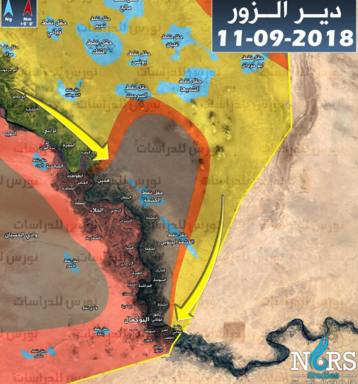 Deployment of the forces in the Albukamal region (updated to September 11, 2018): in yellow – the area controlled by the SDF forces; in red – the area controlled by the Syrian army and the forces supporting it; in grey – areas under ISIS control; in blue – the oil fields (most of them are under SDF control); in orange – areas where there are clashes; the yellow arrows mark the directions of the attack of the SDF forces (Syrian NORS Institute for Strategic Studies, September 11, 2018)