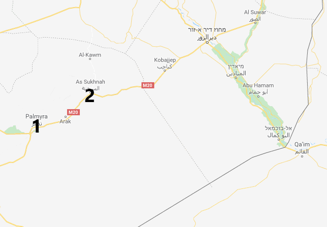 The area between Palmyra (1), Al-Sukhnah (2), and sites of the Syrian attacks against the ISIS operatives (Google Maps)