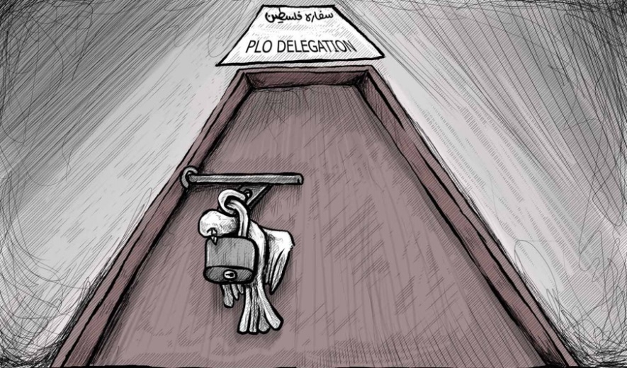 Cartoon published in Al-Hayat Al-Jadeeda, the official organ of the PA, equating the closure of the mission with the death of the peace process (Al-Hayat Al-Jadeeda, September 11, 2018)