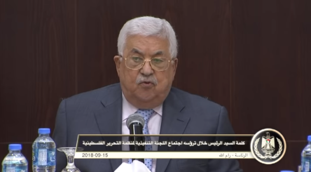 Mahmoud Abbas speaking at a meeting of the PLO Executive Committee in his office in Ramallah (Mahmoud Abbas's YouTube channel, September 15, 2018). Left