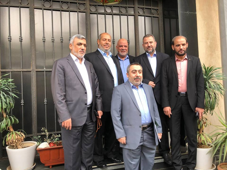 Some of the members of the Hamas delegation in Cairo (Twitter account of the al-Ra'i agency, established by the de facto Hamas administration, October 1, 2018).