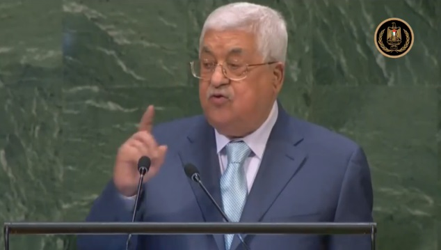 Mahmoud Abbas speaks before the UN General Assembly.
