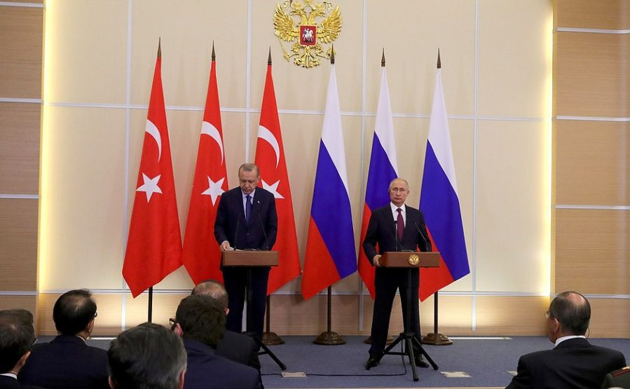 Russian President Vladimir Putin and Turkish President Recep Tayyip Erdoğan at a press conference following their meeting in Sochi (Russian President's website, September 17, 2018)