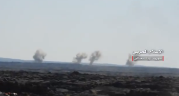 Syrian army artillery fire at ISIS targets in the Safa area (Syrian Army Central Information Office, September 27, 2018)