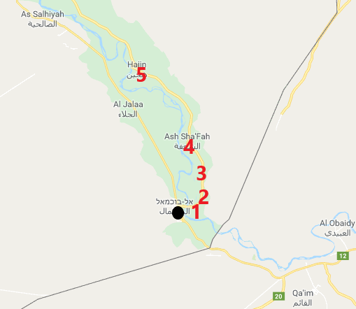 Main battle sites north of Albukamal: Al-Baghouz Fawqani (1); Al-Shajalah (2); Al-Susah (3); Al-Sha'fah (4); Hajin (5) (Wikimapia).