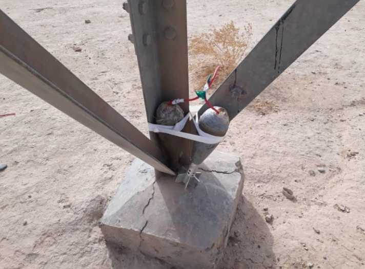 IED consisting of two mortar shells, attached to one of the bases of a high-voltage pylon (Twitter, October 1, 2018)