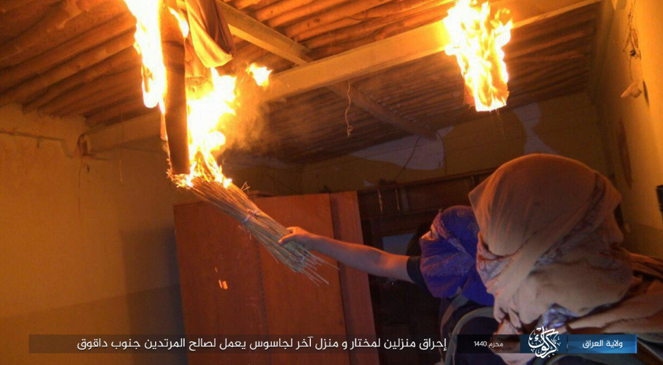 ISIS operatives setting fire to houses of collaborators with the Iraqi regime (ISIS's Kirkuk Province, October 1, 2018)