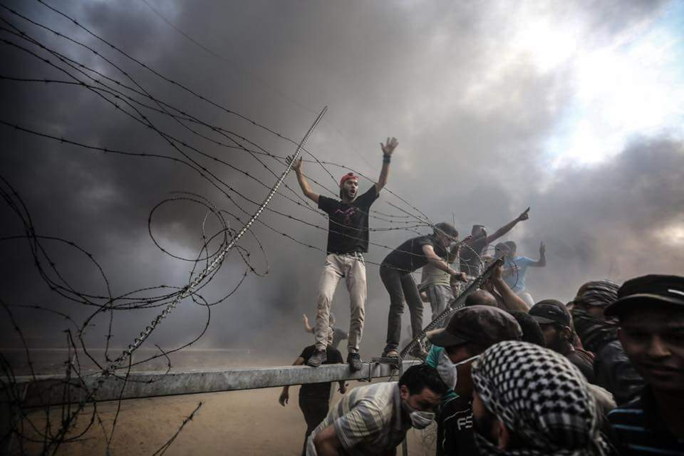 Gazan rioters sabotage the security fence in the eastern Gaza Strip and enter Israeli territory during the