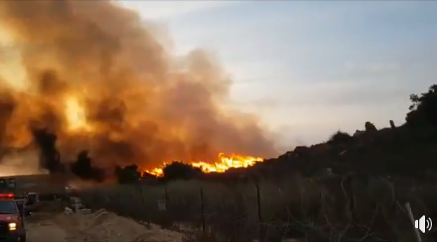 A fire near the border (Shehab Facebook page, October 6, 2018).