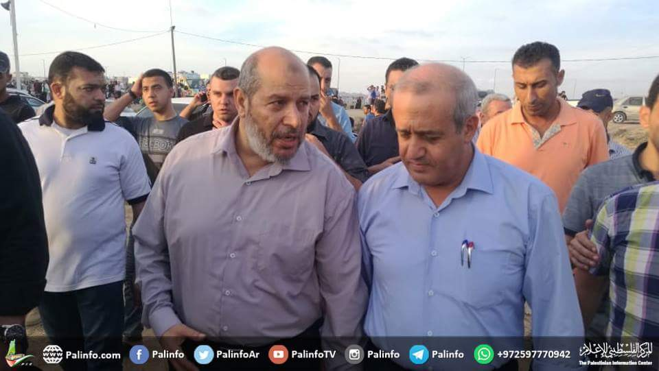 "Khalil al-Haya, senior Hamas figure in the Gaza Strip, participates on the ""return march"" in the eastern Gaza Strip (Palinfo Twitter account, October 5, 2018)."