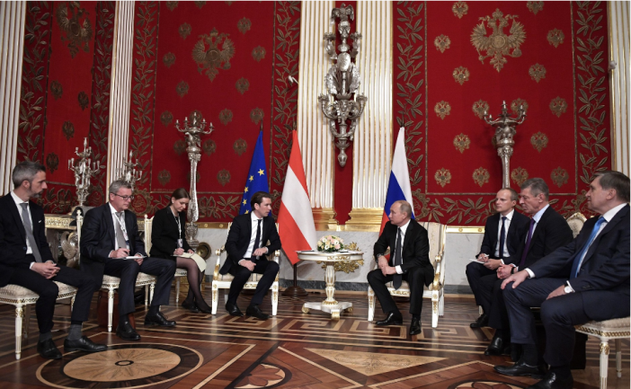 The meeting between the Russian president and the Austrian chancellor.