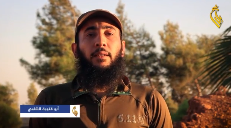 Abu Qutaiba al-Shami (i.e., the Syrian) in the video (Telegram, October 6, 2018)