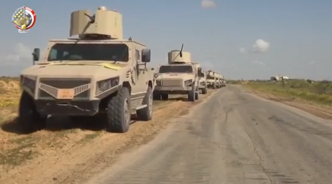Column of Egyptian army armored vehicles during Operation Sinai 2018.
