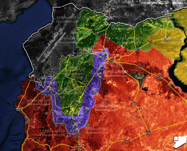 The control areas in the Idlib region (updated to October 10, 2018): the rebel organizations, including the Headquarters for the Liberation of Al-Sham (green); the Syrian army and the forces supporting it (red); the demilitarized zone agreed between Russia and Turkey (blue); Turkish and Russian supervision posts (marked by the flag of the country) (Muraselon, October 10, 2018)
