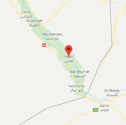 The town of Hajin, ISIS's stronghold north of Albukamal (Google Maps)