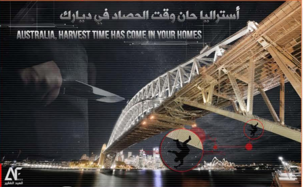 """Poster encouraging lone wolf attacks in Australia, below the inscription """"Australia – the time has come for the harvest season in your territory""""(file-sharing website archive.org, October 10, 2018)."""