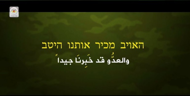 Scenes from the video threatening Israel issued by the PIJ'smilitary wing and the caption in Hebrew and Arabic threatening Israel(website of the PIJ's military wing, October 18, 2018).
