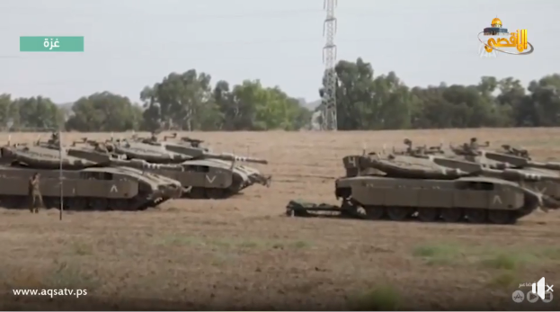 Report from the Hamas media on IDF reinforcements near the Gaza Strip (Facebook page of the Supreme National Authority of the Great Return March, October 20, 2018).