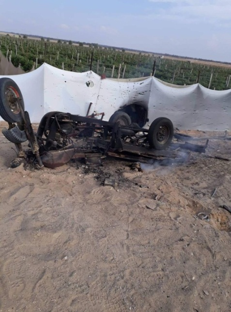 The motorcycle attacked by the IAF east of Rafah (Palinfo Twitter account, October 20 2018).