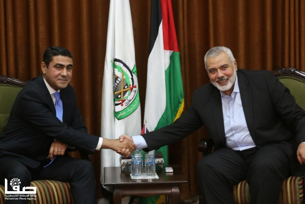 The Egyptian General Intelligence intelligence delegation meets with Isma'il Haniyeh (Palinfo Twitter account, Safa Twitter account, October 18, 2018).