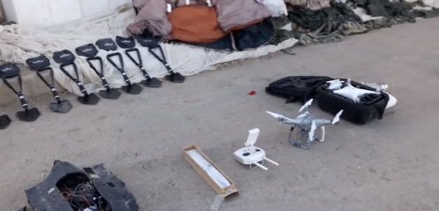 Two ISIS drones seized by the Syrian army in the Deir ez-Zor Province. One of the drones is seen in an original package (SANA's YouTube account, December 9, 2018)