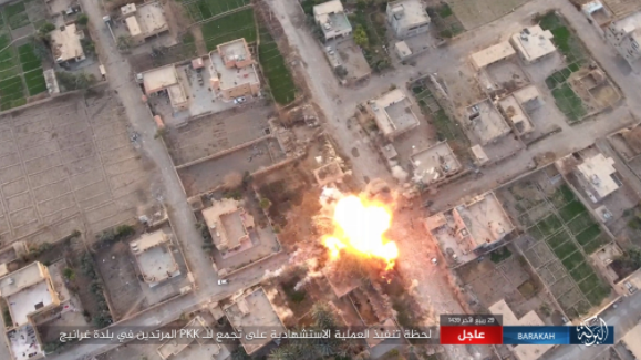 Left: Detonation of an ISIS car bomb (Akhbar Al-Muslimeen, January 17, 2018)
